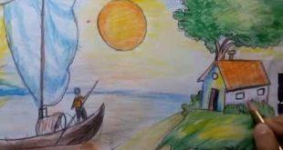 صوره رسم منظر طبيعي للاطفال , افضل الرسومات الجميلة للاطفال