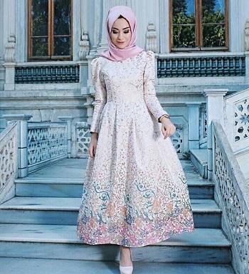 بالصور فساتين سهرة للمحجبات 2019 , احدث وارقي موديلات فستان السهرات للمراة المحجبة 2019 1294 2