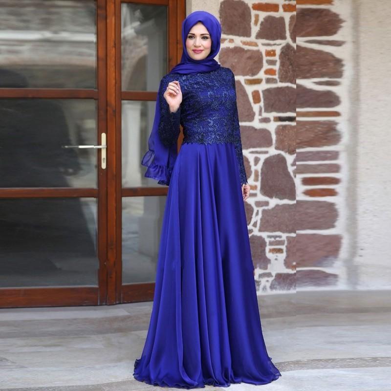 بالصور فساتين سهرة للمحجبات 2019 , احدث وارقي موديلات فستان السهرات للمراة المحجبة 2019 1294 8