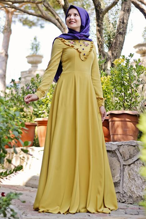 بالصور فساتين محجبات 2019 , اروع فستان طويل للمراة المحجبة 2019 1545 7