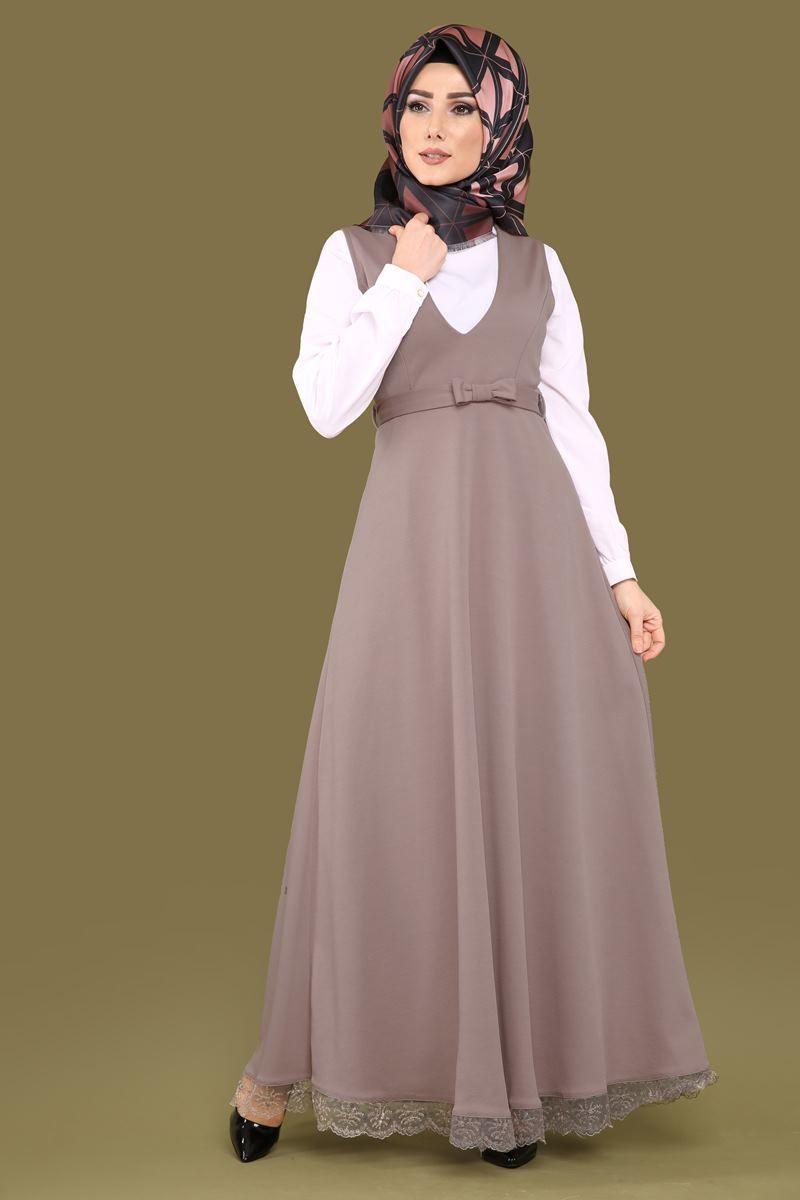 بالصور فساتين محجبات 2019 , اروع فستان طويل للمراة المحجبة 2019 1545 9