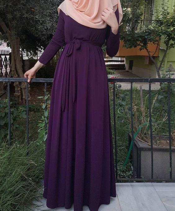 بالصور فساتين محجبات 2019 , اروع فستان طويل للمراة المحجبة 2019 1545