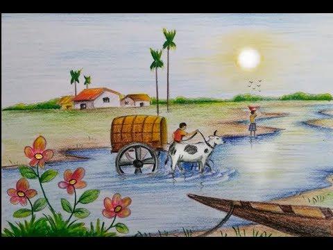 بالصور رسم منظر طبيعي سهل للاطفال , اروع المناظر الطبيعية للاطفال 299 1