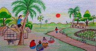 صورة رسم منظر طبيعي سهل للاطفال , اروع المناظر الطبيعية للاطفال