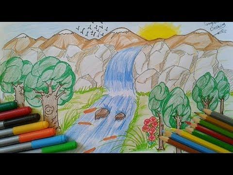 بالصور رسم منظر طبيعي سهل للاطفال , اروع المناظر الطبيعية للاطفال 299 4