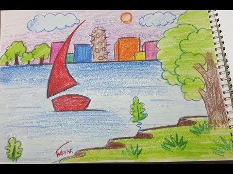 بالصور رسم منظر طبيعي سهل للاطفال , اروع المناظر الطبيعية للاطفال 299 7