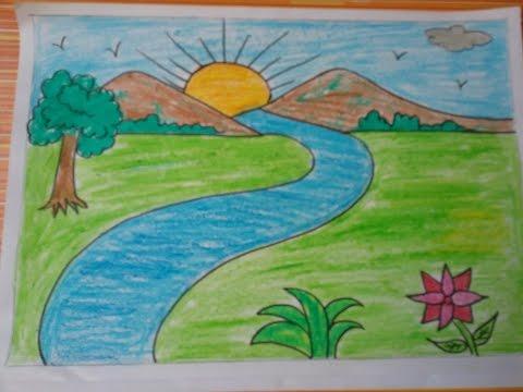 بالصور رسم منظر طبيعي سهل للاطفال , اروع المناظر الطبيعية للاطفال 299 8