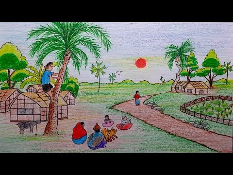 بالصور رسم منظر طبيعي سهل للاطفال , اروع المناظر الطبيعية للاطفال 299