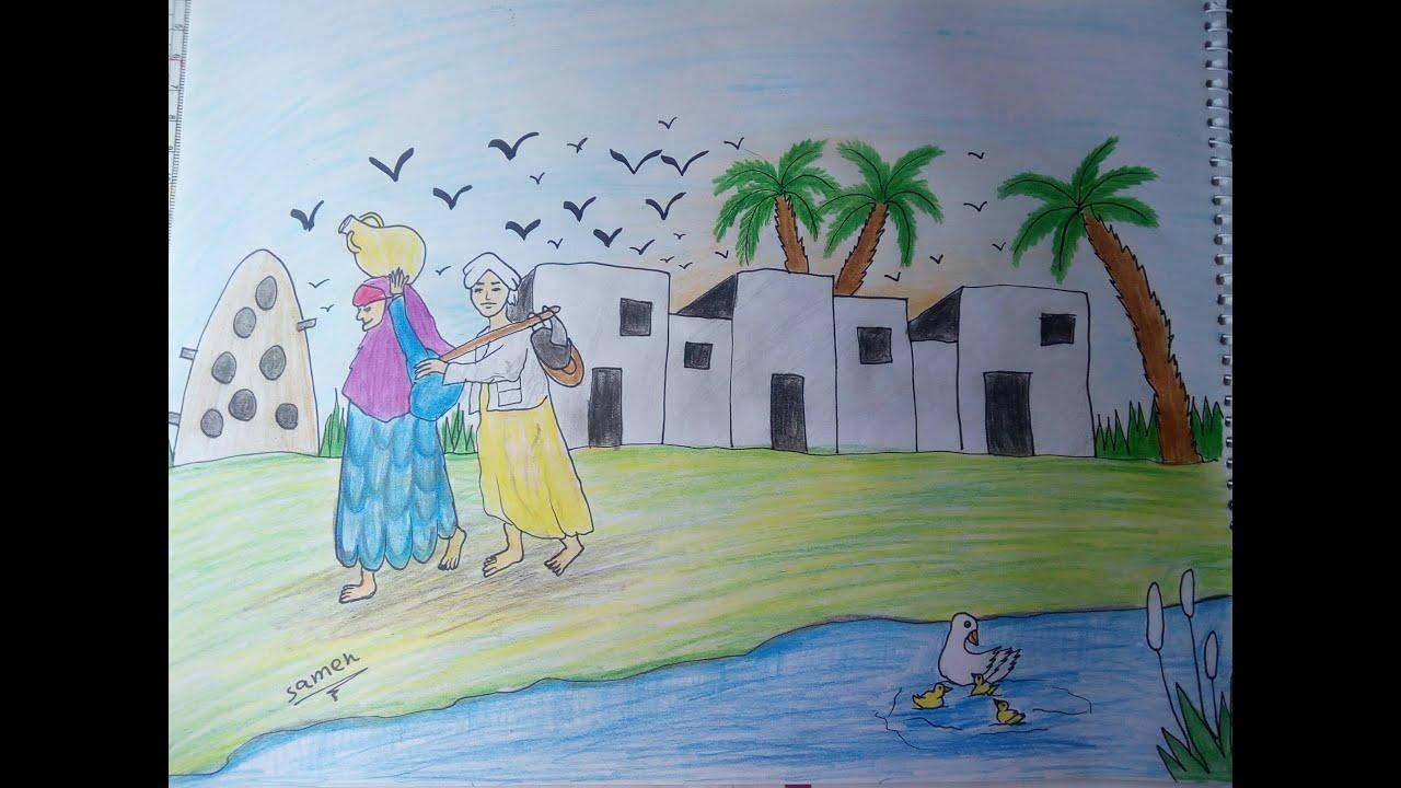 صورة رسم نهر النيل , طريقه سهله لرسمه نهر النيل