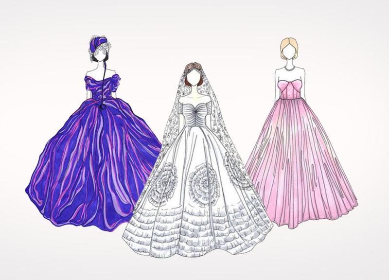 صور رسم فساتين زفاف , طريقه رسم فستان الزفاف