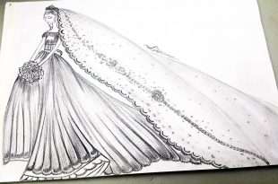 بالصور رسم فساتين زفاف , طريقه رسم فستان الزفاف 12611 14 310x205
