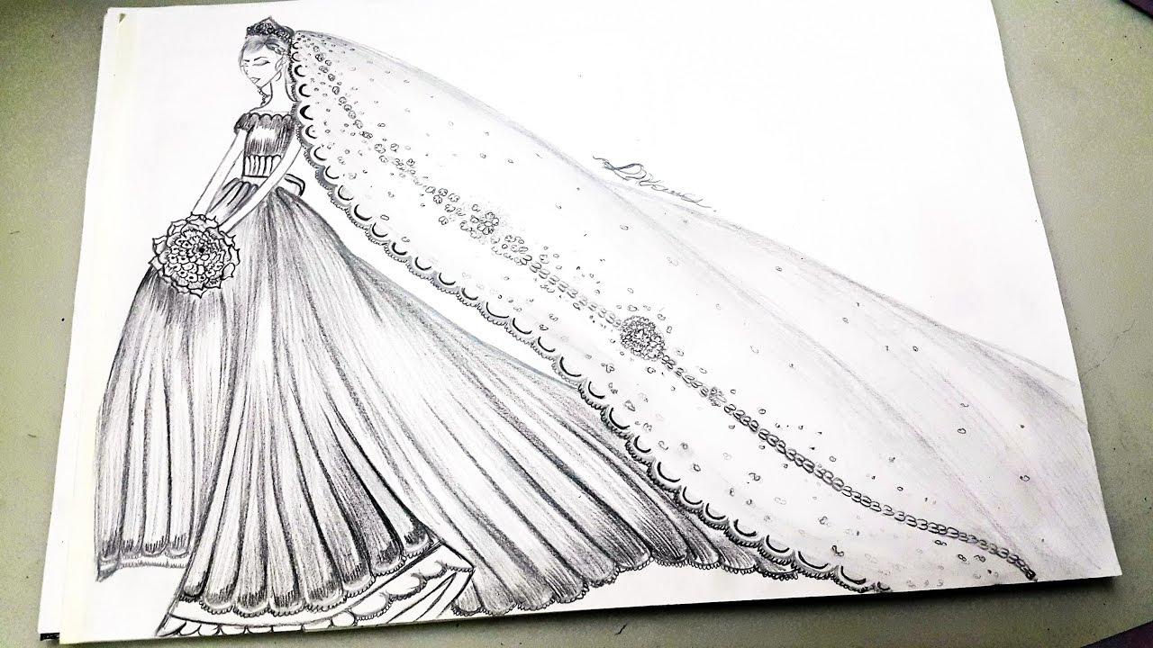 بالصور رسم فساتين زفاف , طريقه رسم فستان الزفاف 12611